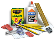 Photo of miscellaneous school supplies