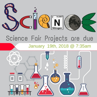 Science Fair projects are due January 19th at 7:35am