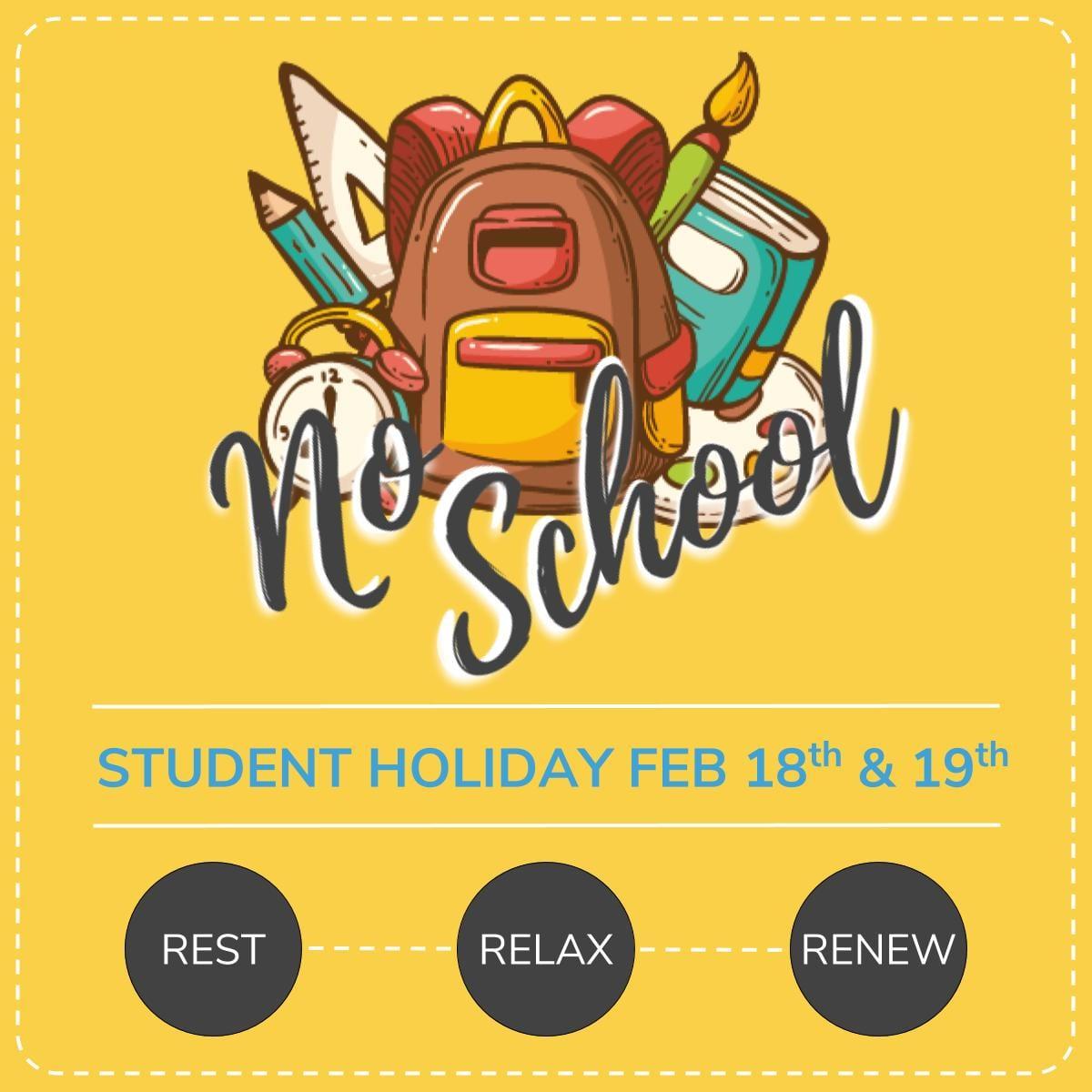 No School Feb. 18th - 19th