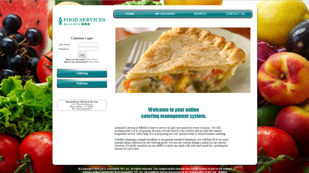 Photo of catering website