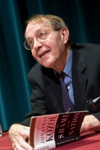 Kozol signs copies of his books, including The Shame of the Nation, after the lecture