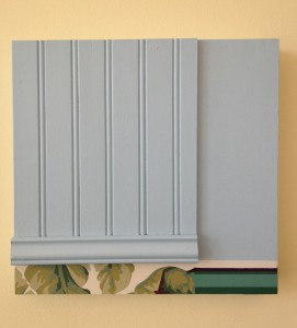 "John RoyWall Work No. 27, Wallpaper, interior paint, molding, Approx. 12""x12"""