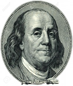 8220171-Portrait-of-U-S-statesman-inventor-and-diplomat-Benjamin-Franklin-as-he-looks-on-one-hundred-dollar--Stock-Photo