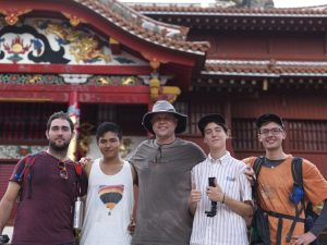 Provost Christy with Students at Shuri Castle in Okinawa