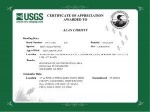 Bird Banding Lab Certificate