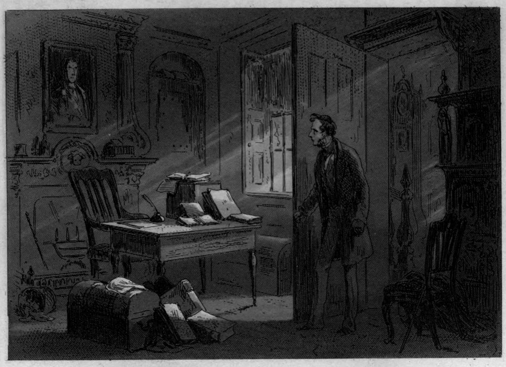 "The Room with the Portrait (facing p. 46) — originally, Phiz's fourth illustration for Dickens's Little Dorrit, Authentic Edition, 1901. A framed dark plate. Steel engraving for Book the First, ""Riches,"" Chapter 5, ""Family Affairs"" (originally in Part 2, January 1856)."