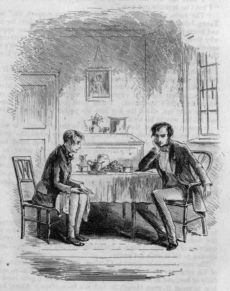 At Mr. John Chivery's Tea Table. Illustration by Phiz.