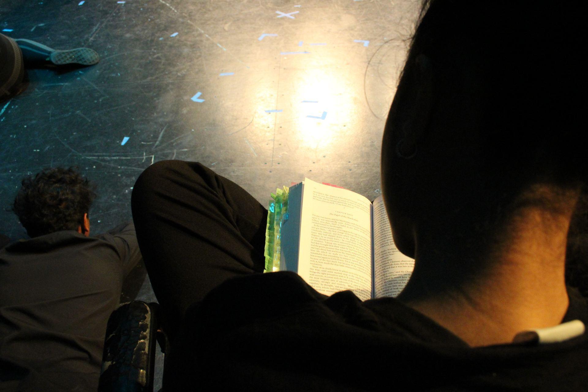 Actor reading Little Dorrit novel