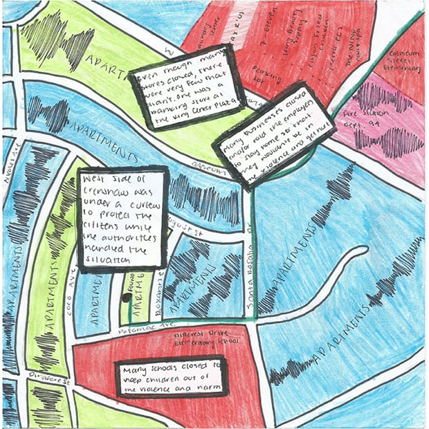 "Different Coordinates: Sample student ""thick map"" inspired by their neighborhoods and the traces of the LA riots they discovered there."