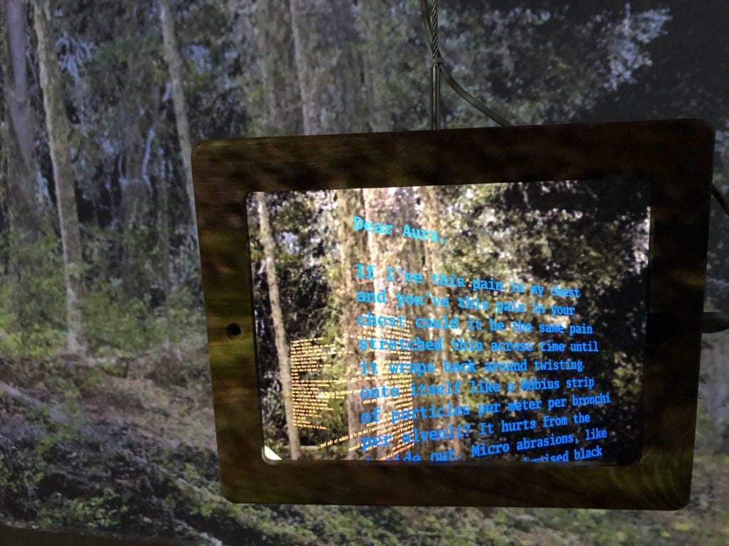 Sin Sol Augmented Reality app running on an iPad, poetry in blue and forest imagery in the background