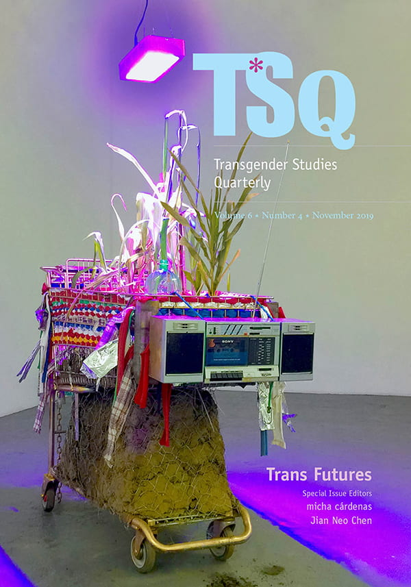 Trans Futures cover image, artwork depicting a shopping cart filled with dirt, with a boom box mounted on it and a purple light shining down from above