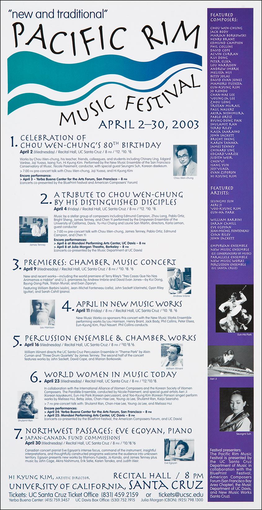 Pacific Rim Music Festival 2003 Poster