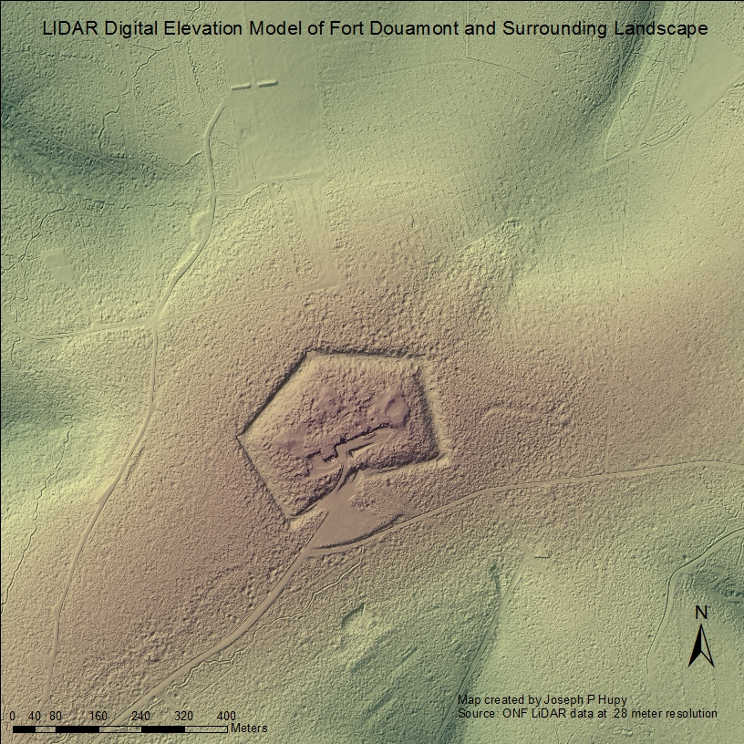 LIDAR Digital Elevation Model of Fort Douamont and Surrounding Landscape