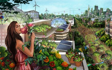 Person with long brown hair in a pink dress smelling flowers in a rooftop vegetable garden overlooking a luscious green city scape with windmills and skyrail