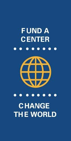 Navy blue background with the words Fund a Center Change the Word