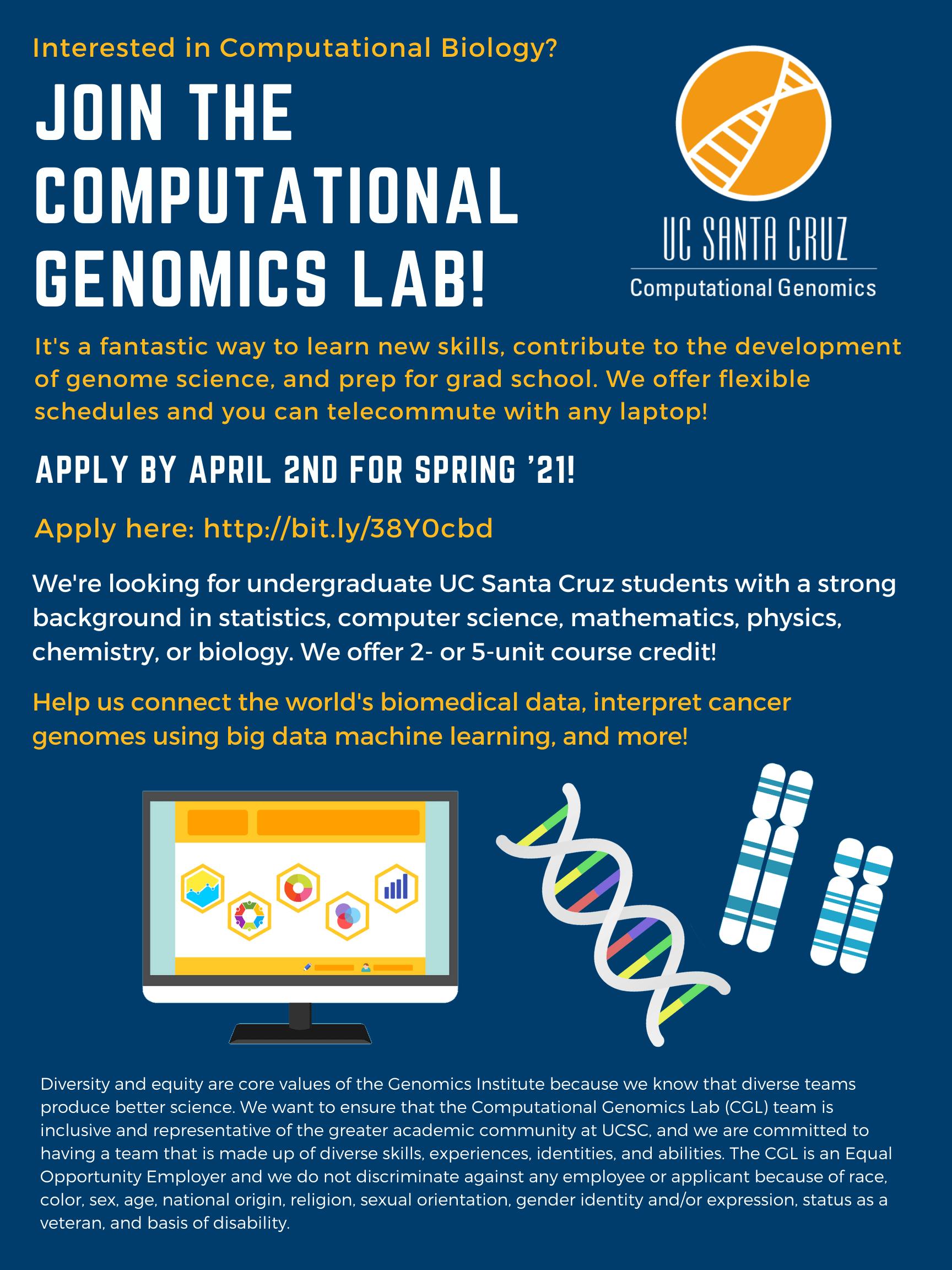 Opportunities | Computational Genomics Laboratory (CGL)