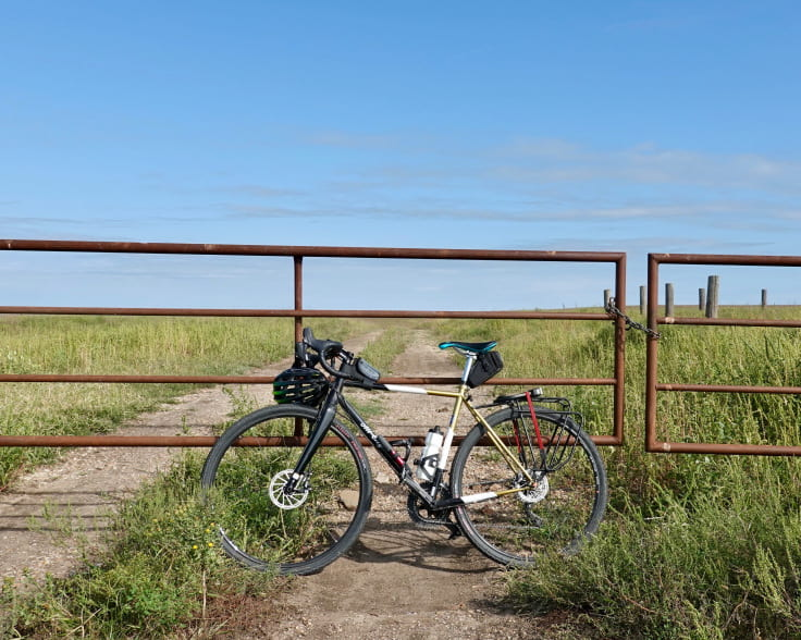 bicycle in front of a gate in kansas