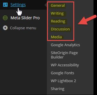settings left nav screenshot