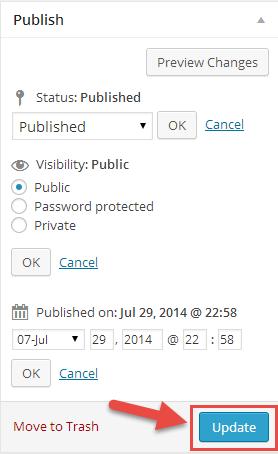 visual editor publish