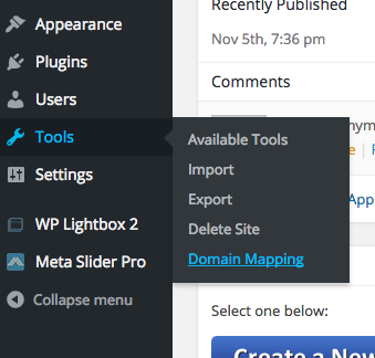 "Select ""Tools"" and then ""Domain Mapping"" from the sub-menu"