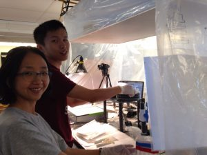 Jong-Mi and Yang in the bubble, C-SNOW, RV Oceanus, Aug 2016