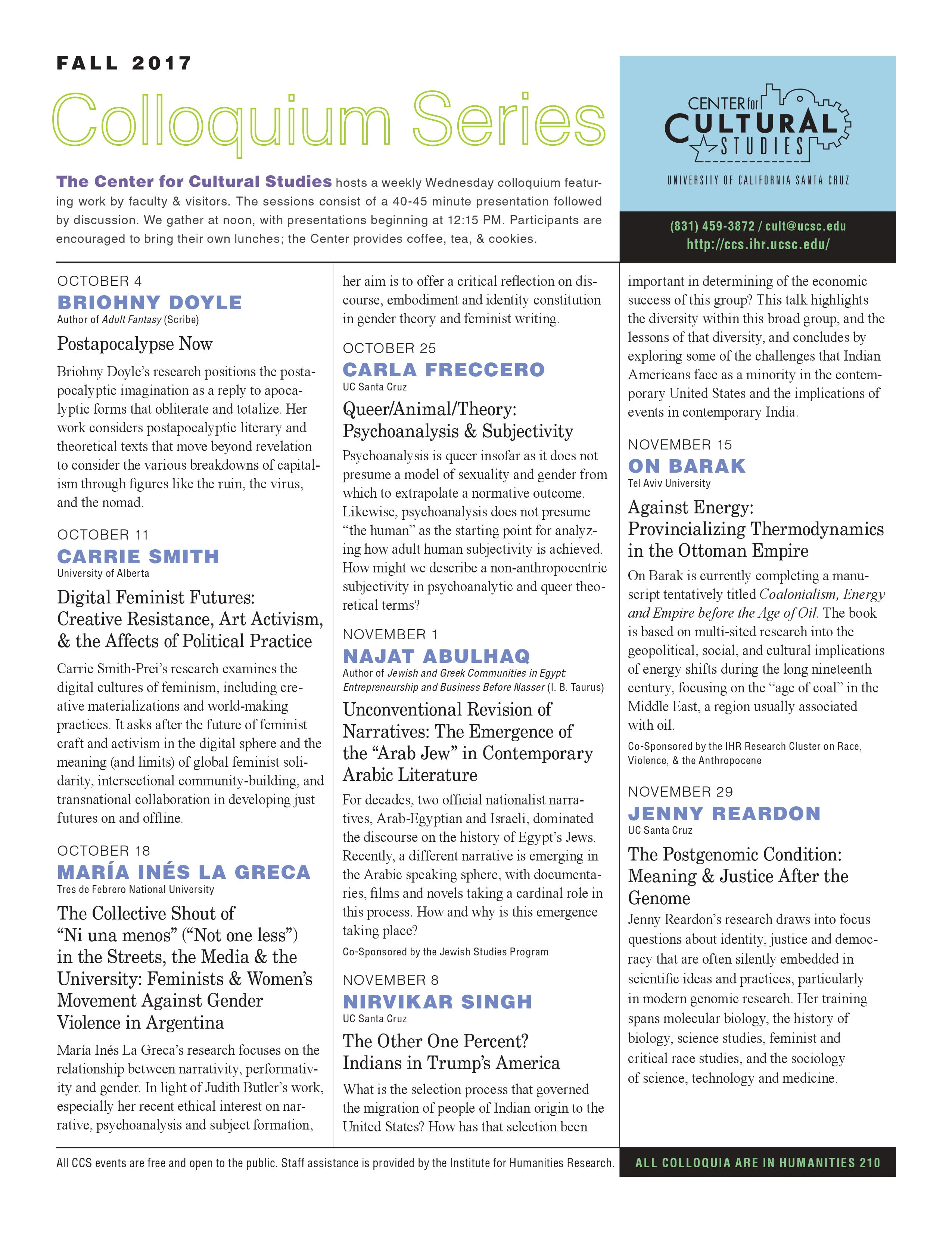 Pg 1 of the newsletter, highlighting the fall 2017 Colloquium series, appears.
