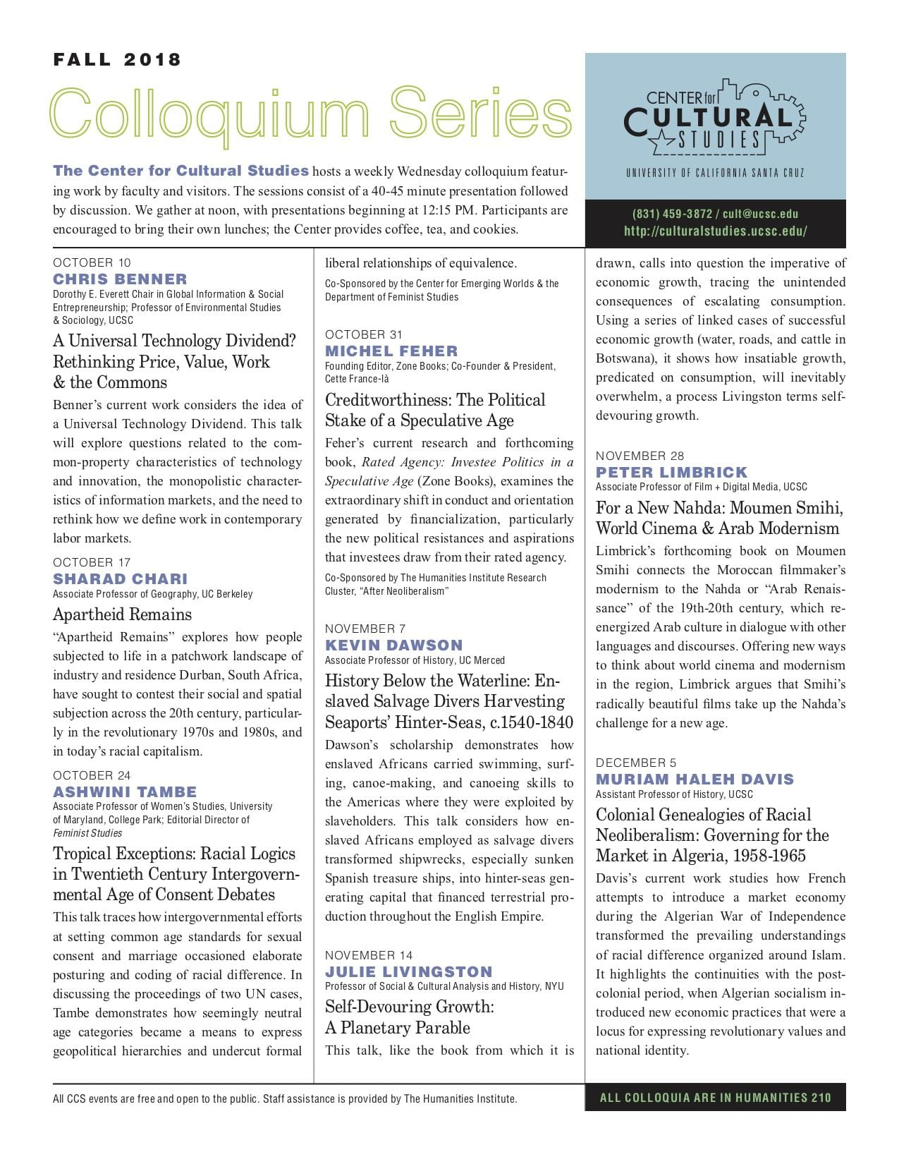The Center for Cultural Studies' Fall 2018 Newsletter