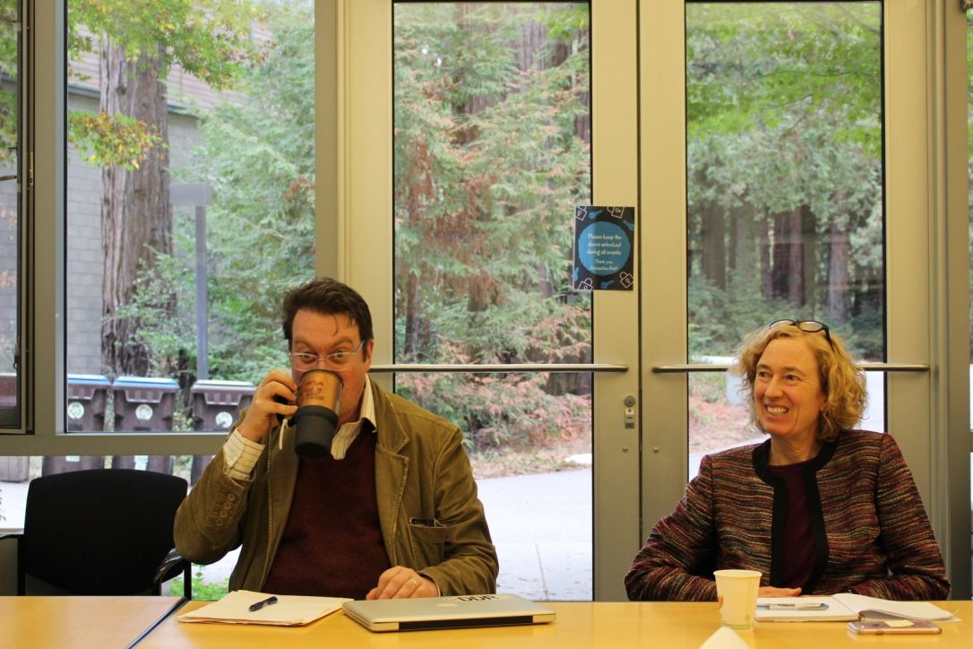 On the left, a man drinks coffee, on the right a woman is laughing.