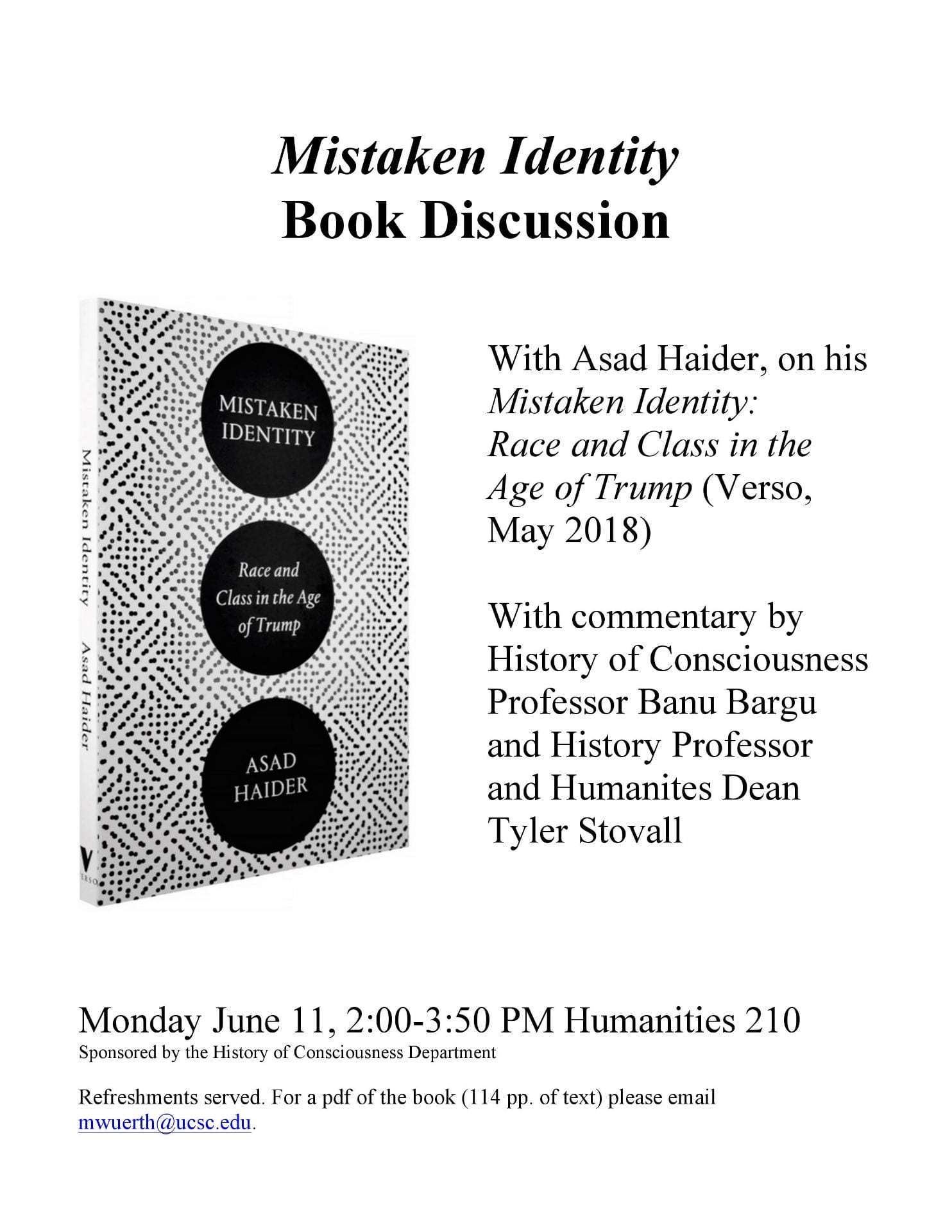 A flyer showing Haider's book and text is shown