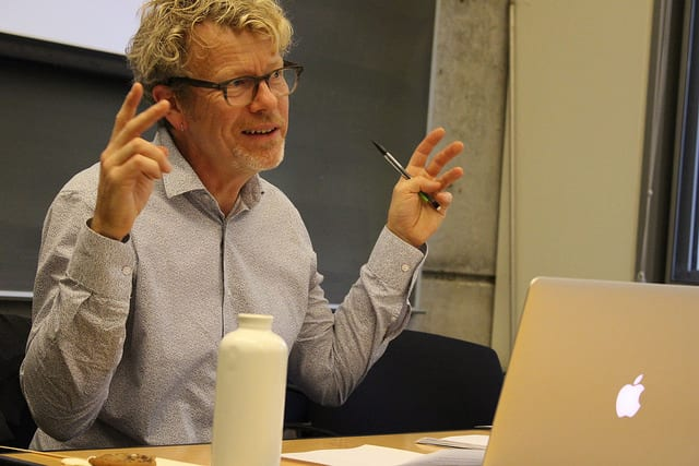 Photo of Professor Peter Limbrick during his colloquium talk