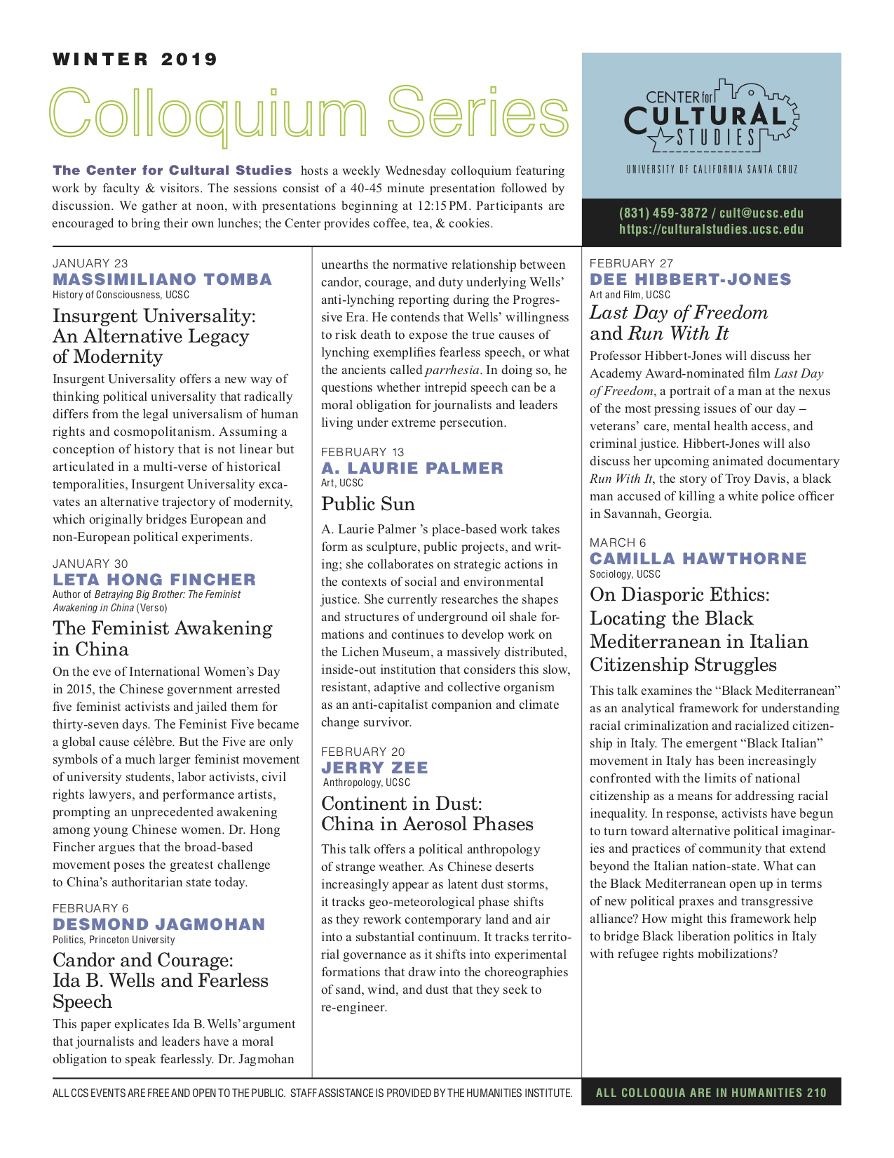 Center for Cultural Studies Winter 2019 Newsletter