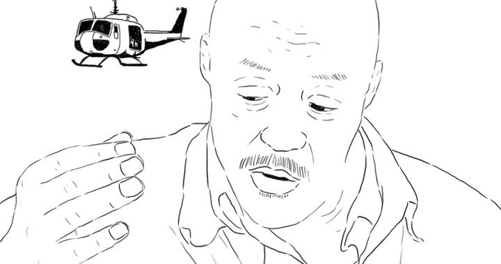 "A still from Dr. Dee Hibbert-Jones' animated film, ""Last Day of Freedom,"" depicting a line drawing of a man speaking and a helicopter in the background"