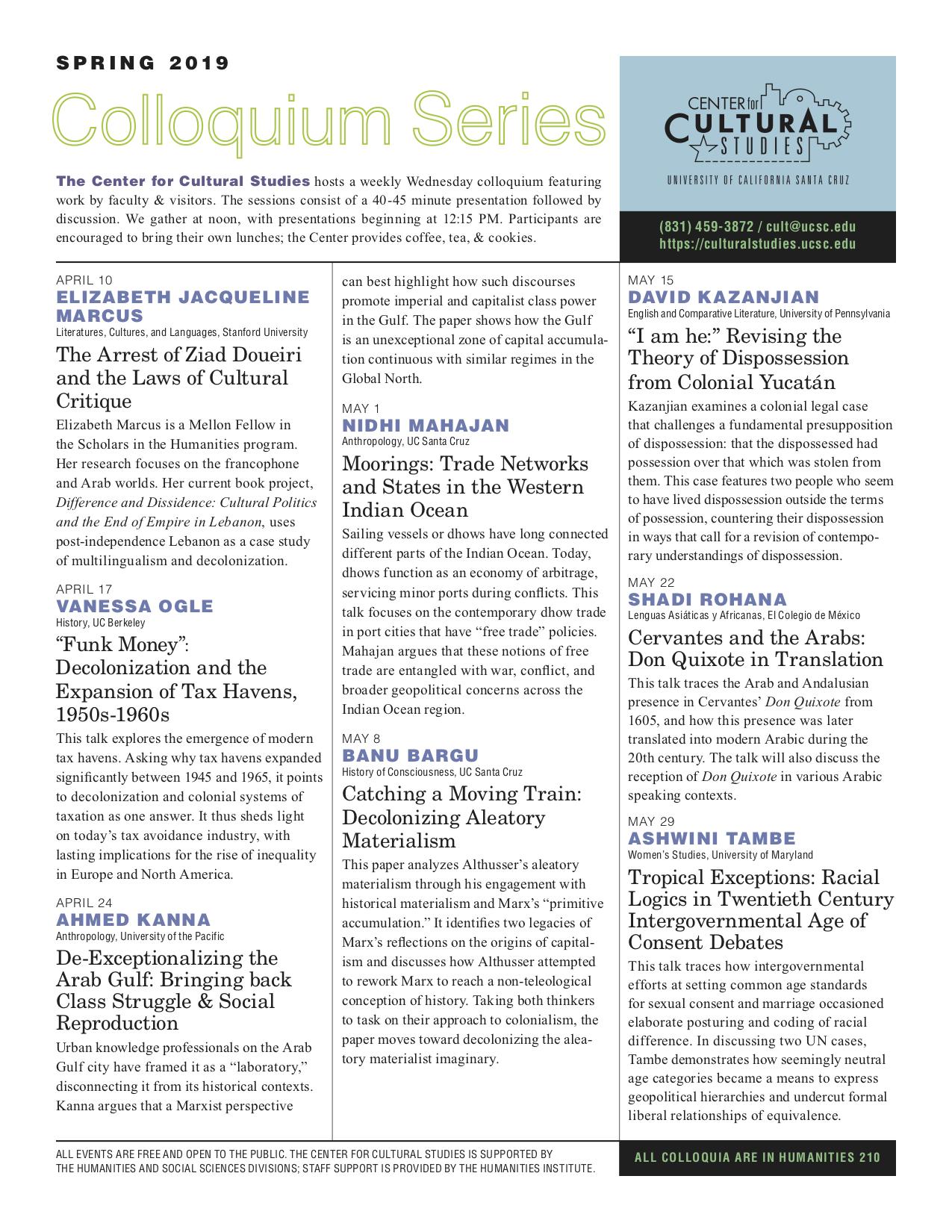 The Center for Cultural Studies Spring 2019 Newsletter