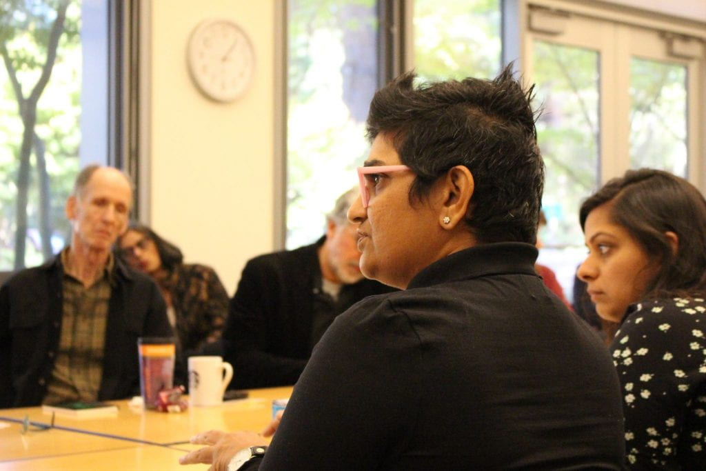 Anjali Arondekar in the audience of Aishwary Kumar's colloquium talk