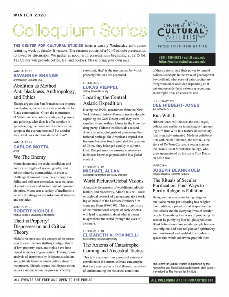 Photo of Cultural Studies Newsletter (click for PDF version)