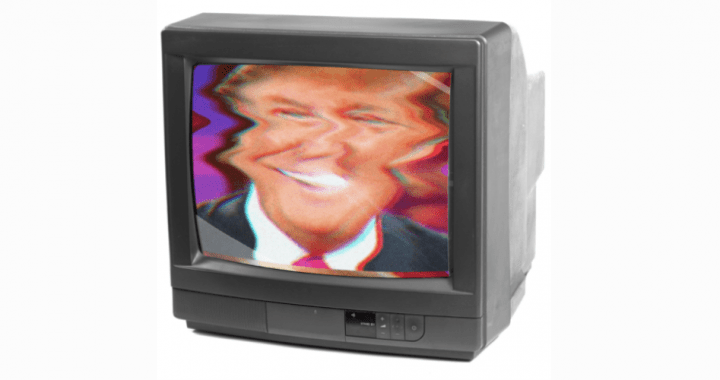 photo of a television with a distorted image of Donald Trump playing