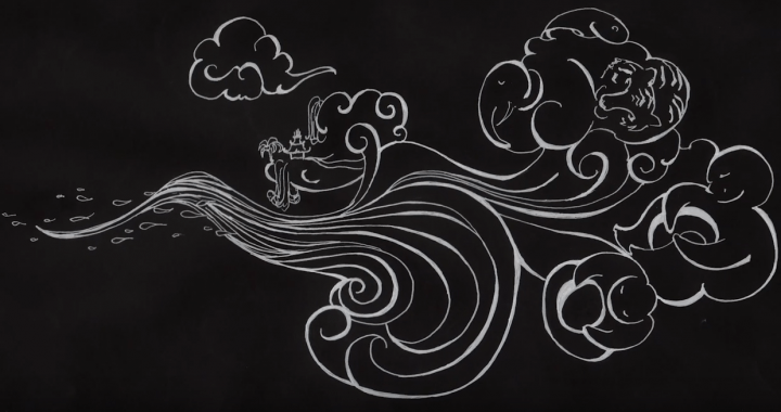 An illustration depicting clouds shaped like people