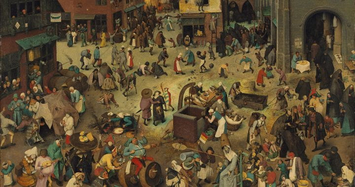 A Renaissance-era painting depicting a town square filled with people selling or carrying goods