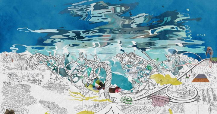 Abstract illustration of a scene in the ocean