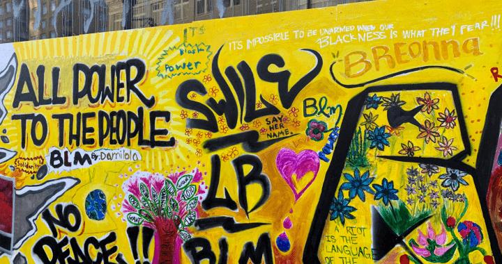 A yellow mural