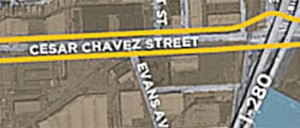 Map of Cesar Chavez Street area