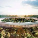 Rendering of futuristic building for Apple