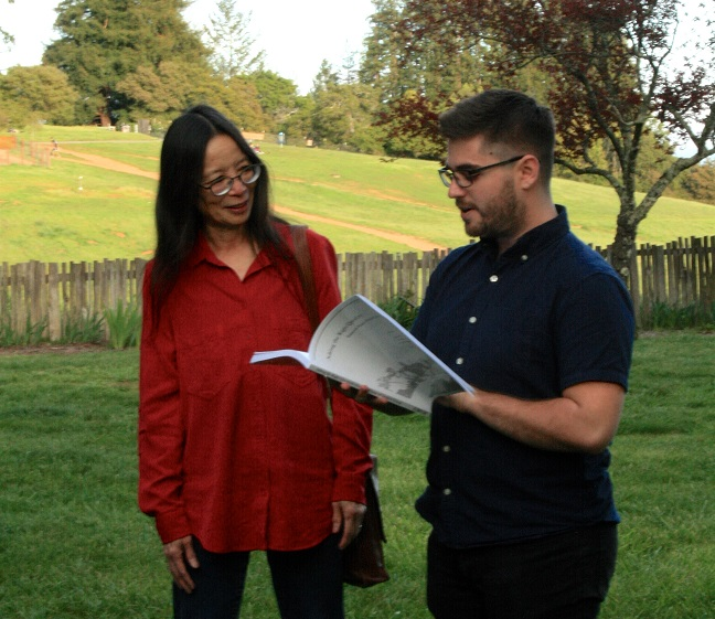 Sandy Chung receiving her festschrift from Jason Ostrove