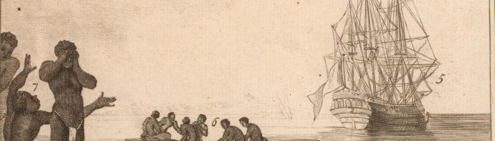 Image of enslaved people being delivered to a slave ship