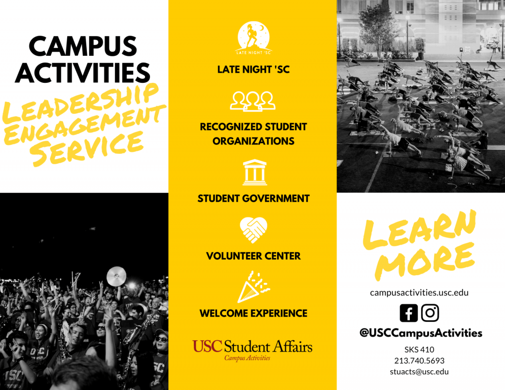 Campus Activities programs listed