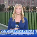 CBS reporter at USC Village