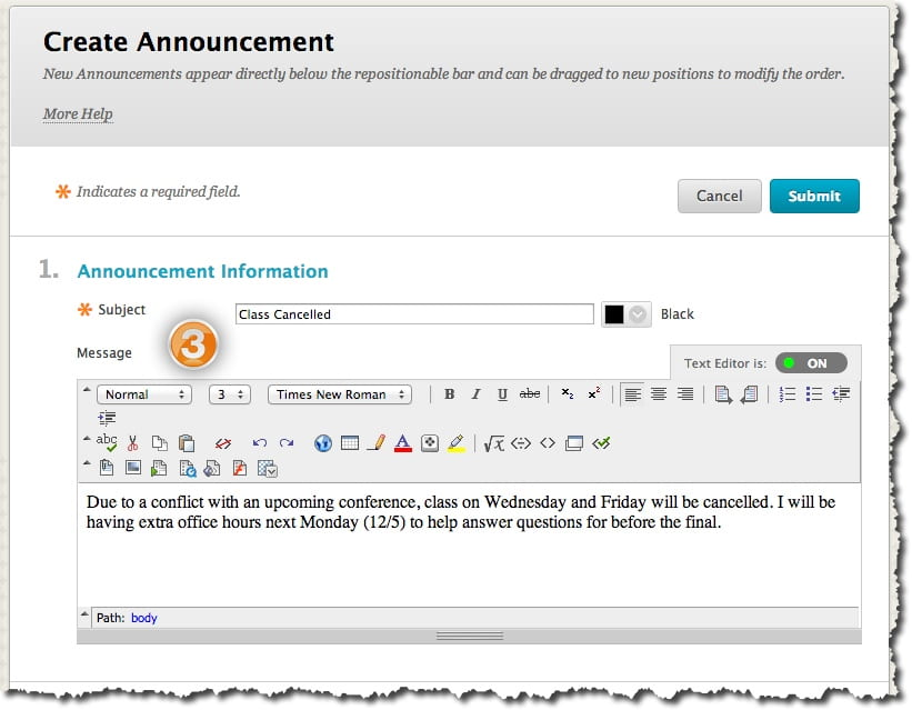 creating announcements blackboard help for faculty