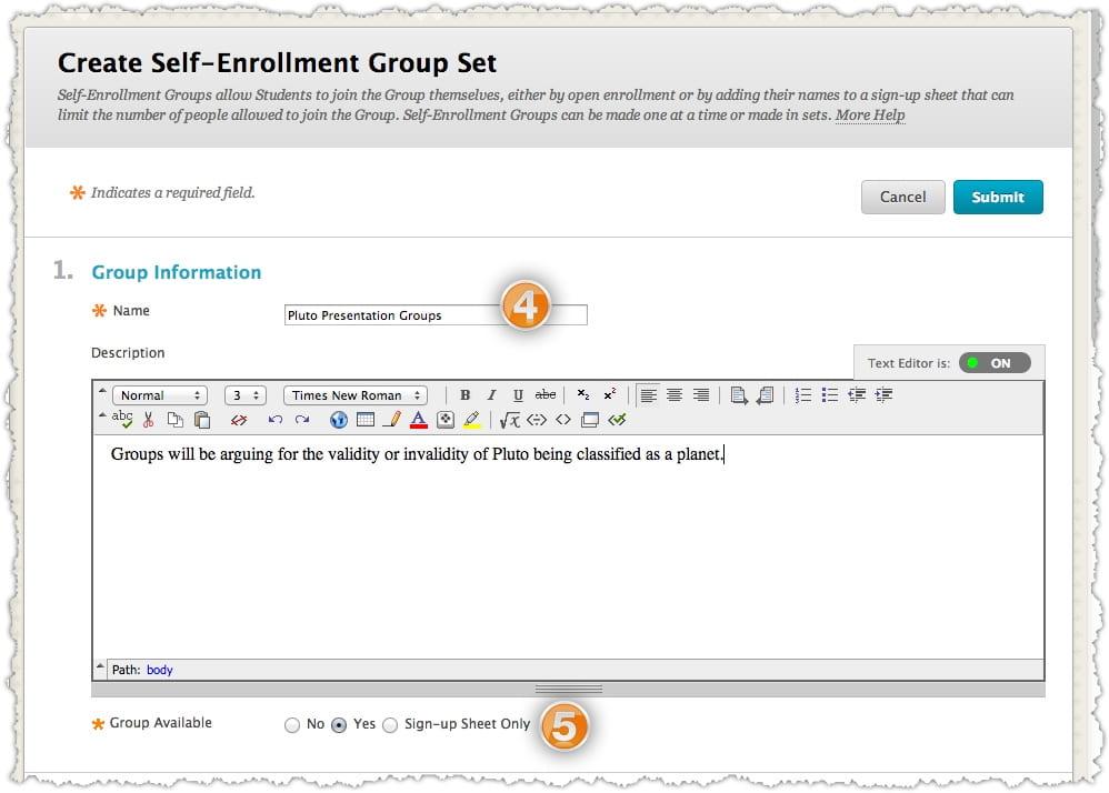 Creating Self-Enroll Groups · Blackboard Help for Faculty