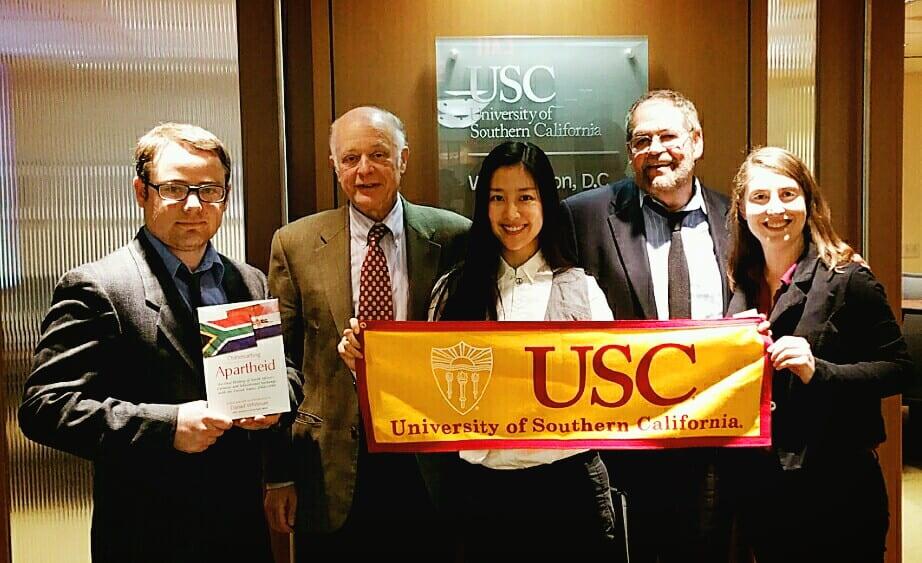 """Justin Chapman, Daniel Whitman, Jung-hwa """"Judy"""" Kang, Dr. Abdin Noboa-Rios, and Amanda Lester at USC's DC office"""