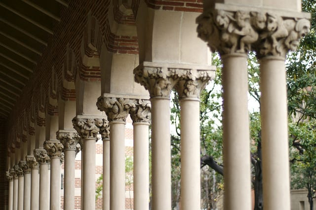 Architectural columns on USC Campus